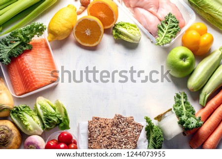 Healthy eating plan. Diet and meal planning. Top view. Flat lay with copy space #1244073955