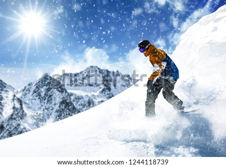 Winter skier and sunny day in Alps  #1244118739