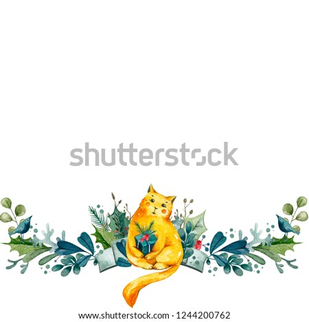 Christmas composition of leafs, branches, gift box, berries with the cute cat.  Watercolor illustration on the winter theme. Border.