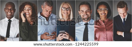 Collage of a group of diverse businesspeople smiling while text messaging or talking on their cellphones Royalty-Free Stock Photo #1244225599