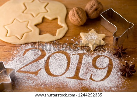 New Year's Greetings 2019 - Year date 2019 and Christmas baking #1244252335