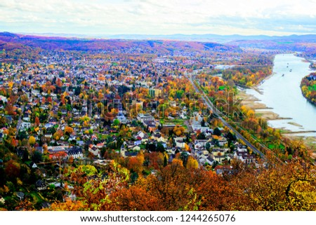 Germany, city, mountains and Rhine River #1244265076