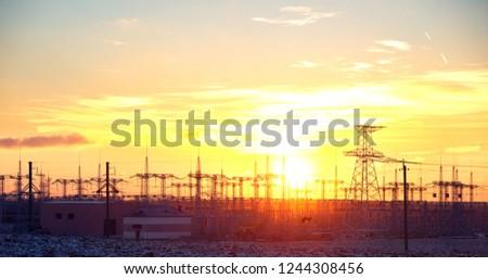 high-voltage lines city #1244308456