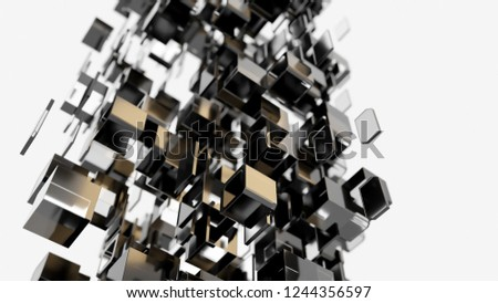 3D render - transparent cubes floating in space #1244356597
