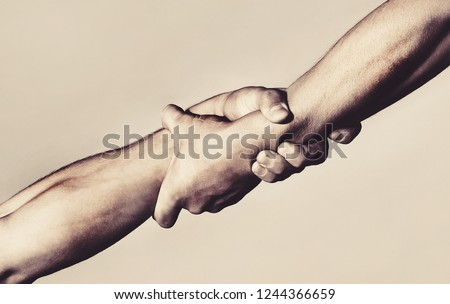 Rescue, helping gesture or hands. Strong hold. Close-up. Two hands, helping hand of a friend. Handshake, arms, friendship. Friendly handshake, friends greeting, teamwork, friendship.  #1244366659