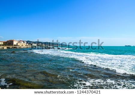 beauty of the sea promenade. Livorno. Tuscany Italy #1244370421
