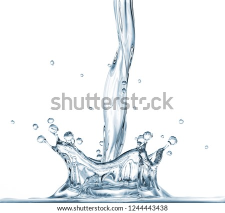 Water crown splash with pour. On white background. Side view. #1244443438