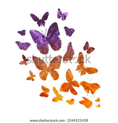 Flock of vintage butterflies on white #1244521438