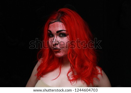 2d style retro make-up on red hair emotional cartoon style girl
