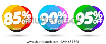 Set Sale tags, discount banners design template, app icons, vector illustration #1244651896