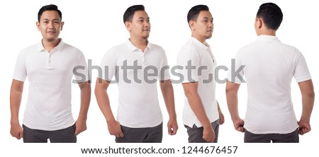 White polo t-shirt mock up, front and back view, isolated. Male model wear plain white shirt mockup. Polo shirt design template. Blank tees for print #1244676457