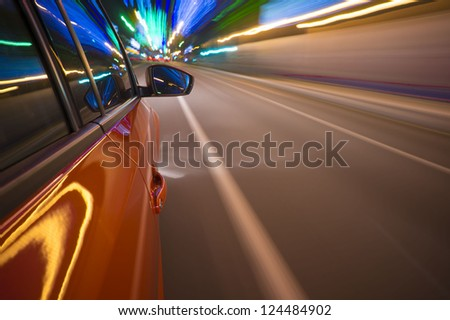 Fast vehicle moving on Motion blur background. #124484902
