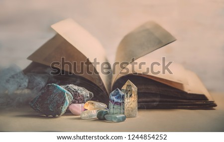 healing minerals stones, crystals and old book. study of properties of minerals and rocks, practice spells. Crystal Ritual, Witchcraft