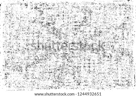 Black And White Distressed Grunge Vector Overlay Template. Dark Paint Weathered Texture. Abstract Dirty Creative Design Backdrop Element  #1244932651