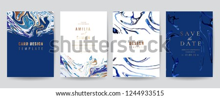 Wedding Invitation, Thank you Card, rsvp, posters, modern card Design Collection. Trendy indigo Marble background, Marbling texture design in navy blue ,green turquoise and golden texture vector  #1244933515