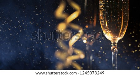 New years eve celebration background with champagne. Christmas card #1245073249