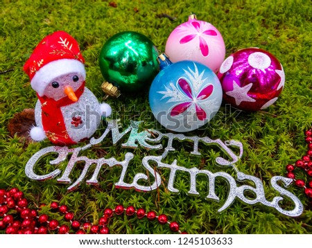 Merry Christmas baubles. Christmas baubles. Christmas balls and Christmas baubles #1245103633