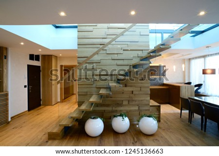 Glass staircase custom home build #1245136663