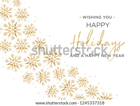 Happy Holidays and Happy New Year Holiday Greeting Card Vector Text Snowflake Illustration Background Royalty-Free Stock Photo #1245337318