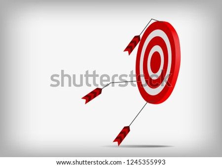Vector : Arrows with miss archery target on gray background #1245355993