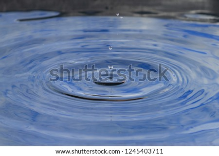 Drops of crashing water with blue background, closeup. #1245403711