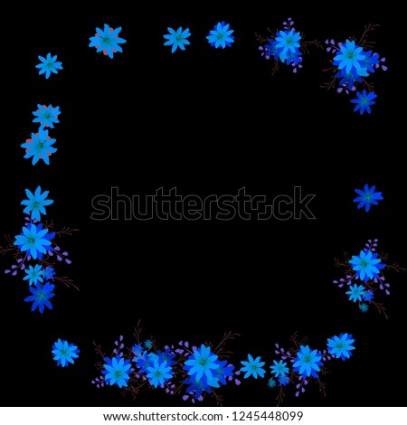 Floral Frame. Vector Square Pattern with Small Wild Flowers for Print, Brochure, Poster. Floral Decoration for Wedding or Birthday Invitation. Colorful Design on Black Background. #1245448099