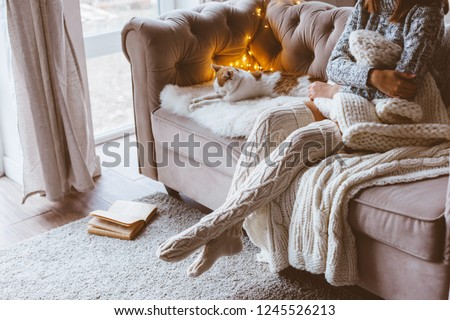 Cold autumn or winter weekend while relaxing with cat on a couch. Lazy day in knitted socks at home. Cosy scene, hygge concept. #1245526213