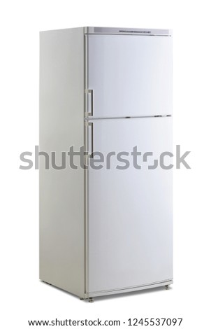 refrigerator with food on a white background open door studio isolated #1245537097