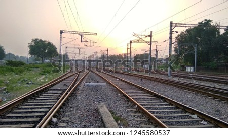 Rail tracks and wonderful sunrise #1245580537
