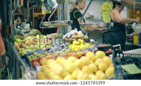 VALENCIA, SPAIN - SEPTEMBER 22, 2018. Fruit at stall of famous Mercado Central or Central Market #1245745399
