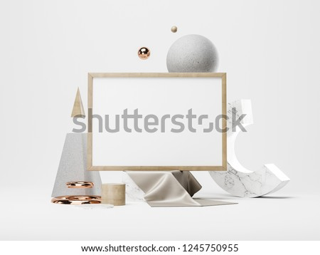 White poster and geometric figures. 3D rendering #1245750955