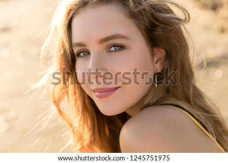 Very beautiful young girl portrait at sunset in the body in Cyprus  #1245751975