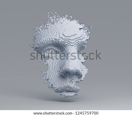 Abstract human face. 3D illustration of a head constructing from cubes. Artificial intelligence concept.