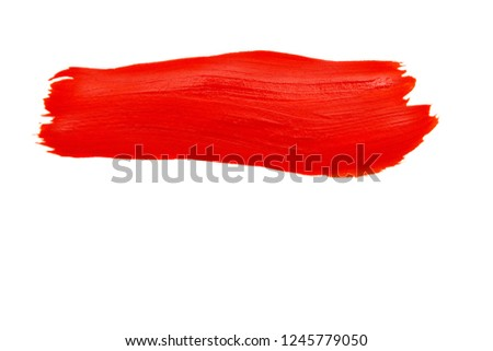 bright red trace of the brush on white paper #1245779050