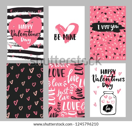 Set of Valentine's day greeting cards with hand written greeting lettering and decorative textured brush strokes on background. Happy Valentine's day, Love you words, love in a jar concept #1245796210