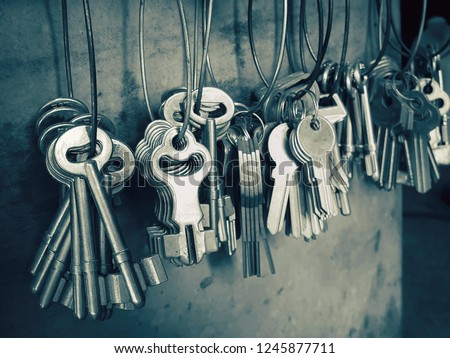 Many key chains for copy key on locksmith shop. #1245877711