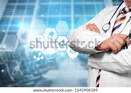 Doctor work on digital tablet abstract app background blog business communicate #1245906589