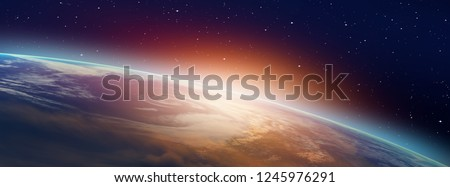 "Planet Earth with a spectacular sunset ""Elements of this image furnished by NASA"" Royalty-Free Stock Photo #1245976291"
