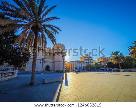 A photo of the medieval architecture of the exterior facade of the popular Torres de Serranos, which was one of the gates of the ancient of the city wall, Christian Wall, of Valencia, in Spain, Europe #1246052815