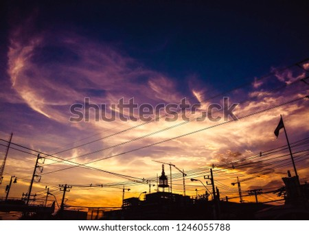Fire on sky, Cloud that look like fire on evening sky #1246055788