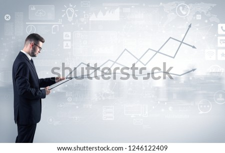 Adviser standing and presenting economical results of a global company #1246122409