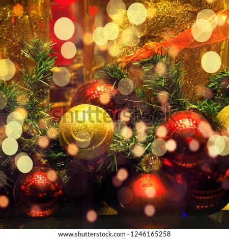 Christmas ball ornaments decoration hanging, Beautiful christmas balls bokeh, Abstract blurred bokeh background of Christmas ball #1246165258