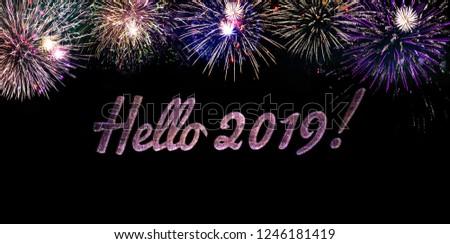 Multicolored New years Eve Festive Illumination Fireworks Design Hello 2019 card template backgound #1246181419
