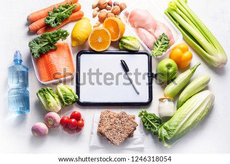 Healthy eating plan. Diet and meal planning. Top view. Flat lay #1246318054