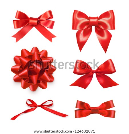Set of six red ribbon satin bows isolated on white #124632091