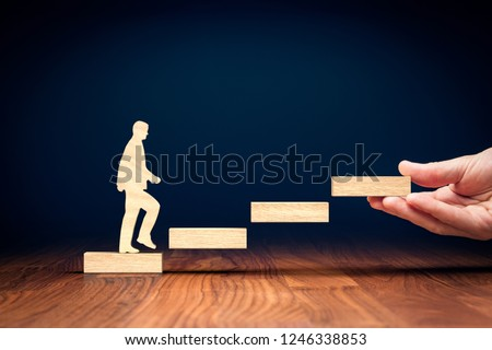 Coach motivate to personal development, success and career growth from the beginning. Royalty-Free Stock Photo #1246338853