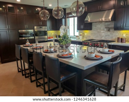 Kitchen Cabinets in Upscale Home Setting.  Dark wood style, modern with appliances and island #1246341628