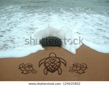 Turtle & Hibiscus handwritten in the sand #124635802