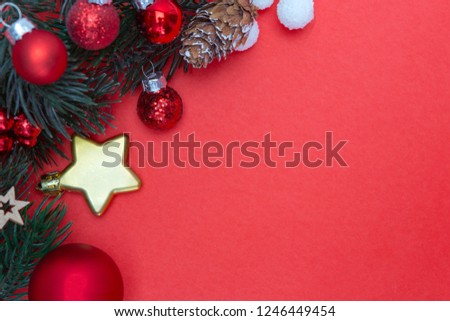 View  of Red christmas holidays decoration on a red background #1246449454