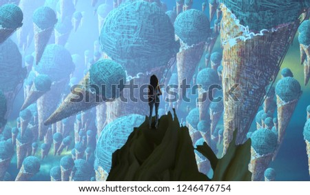 2d illustration. Abstract dreamlike motivational image. Illustration of person being in a dream in imaginary world. Ice cream floating. #1246476754